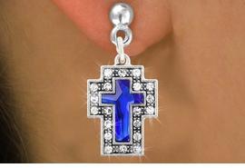 <bR>                   EXCLUSIVELY OURS!!<Br>             AN ALLAN ROBIN DESIGN!!<BR>    CLICK HERE TO SEE 120+ EXCITING<BR>       CHANGES THAT YOU CAN MAKE!<BR>                  LEAD & NICKEL FREE!!<BR>W1084SE - BLUE CRYSTAL CROSS CHARM<BR> EARRINGS FROM $4.95 TO $10.00 �2011