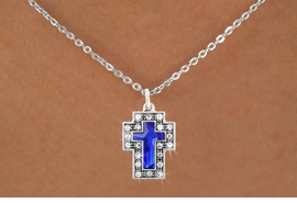 <bR>                      EXCLUSIVELY OURS!!<Br>                AN ALLAN ROBIN DESIGN!!<BR>       CLICK HERE TO SEE 120+ EXCITING<BR>          CHANGES THAT YOU CAN MAKE!<BR>                     LEAD & NICKEL FREE!!<BR>W1084SN - BLUE CRYSTAL CROSS CHARM<BR> & NECKLACE FROM $5.40 TO $9.85 �2011