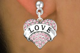"<bR>                   EXCLUSIVELY OURS!!<Br>             AN ALLAN ROBIN DESIGN!!<BR>    CLICK HERE TO SEE 120+ EXCITING<BR>       CHANGES THAT YOU CAN MAKE!<BR>                  LEAD & NICKEL FREE!!<BR>W1137SE - ROSE CRYSTAL ""LOVE"" <BR>            HEART CHARM EARRINGS<BR>      FROM $4.95 TO $10.00 �2012"
