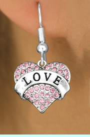 """<bR>                   EXCLUSIVELY OURS!!<Br>             AN ALLAN ROBIN DESIGN!!<BR>    CLICK HERE TO SEE 120+ EXCITING<BR>       CHANGES THAT YOU CAN MAKE!<BR>                  LEAD & NICKEL FREE!!<BR>W1137SE - ROSE CRYSTAL """"LOVE"""" <BR>            HEART CHARM EARRINGS<BR>      FROM $4.95 TO $10.00 �2012"""