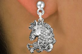 <bR>                   EXCLUSIVELY OURS!!<Br>             AN ALLAN ROBIN DESIGN!!<BR>    CLICK HERE TO SEE 120+ EXCITING<BR>       CHANGES THAT YOU CAN MAKE!<BR>                  LEAD & NICKEL FREE!!<BR>W1140SE - CRYSTAL  HORSE CHARM<BR> EARRINGS FROM $4.95 TO $10.00 �2012