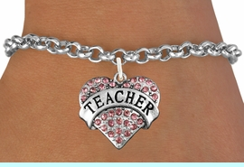 """<bR>               EXCLUSIVELY OURS!!<Br>         AN ALLAN ROBIN DESIGN!!<BR>CLICK HERE TO SEE 120+ EXCITING<BR>   CHANGES THAT YOU CAN MAKE!<BR>              LEAD & NICKEL FREE!!<BR>W1242SB - ROSE CRYSTAL """"TEACHER"""" <BR>         HEART CHARM & BRACELET <BR>       FROM $5.40 TO $9.85 �2012"""