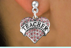 """<bR>               EXCLUSIVELY OURS!!<Br>         AN ALLAN ROBIN DESIGN!!<BR>CLICK HERE TO SEE 120+ EXCITING<BR>   CHANGES THAT YOU CAN MAKE!<BR>              LEAD & NICKEL FREE!!<BR>W1242SE - ROSE CRYSTAL """"TEACHER"""" <BR>          HEART CHARM  EARRINGS <BR>       FROM $4.95 TO $10.00 �2012"""