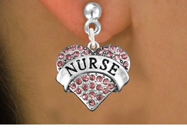 "<bR>               EXCLUSIVELY OURS!!<Br>         AN ALLAN ROBIN DESIGN!!<BR>CLICK HERE TO SEE 120+ EXCITING<BR>   CHANGES THAT YOU CAN MAKE!<BR>              LEAD & NICKEL FREE!!<BR>  W1243SE - ROSE CRYSTAL ""NURSE"" <BR>          HEART CHARM  EARRINGS <BR>       FROM $4.95 TO $10.00 �2012"