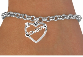 "<bR>               EXCLUSIVELY OURS!!<Br>         AN ALLAN ROBIN DESIGN!!<BR>CLICK HERE TO SEE 120+ EXCITING<BR>   CHANGES THAT YOU CAN MAKE!<BR>              LEAD & NICKEL FREE!!<BR>    W606B2 - ""I LOVE COWBOYS""<Br>     & BRACELET AS LOW AS $4.50"