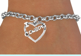 """<bR>               EXCLUSIVELY OURS!!<Br>         AN ALLAN ROBIN DESIGN!!<BR>CLICK HERE TO SEE 120+ EXCITING<BR>   CHANGES THAT YOU CAN MAKE!<BR>              LEAD & NICKEL FREE!!<BR>    W606B2 - """"I LOVE COWBOYS""""<Br>     & BRACELET AS LOW AS $4.50"""