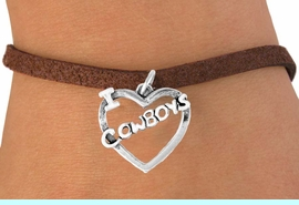"""<bR>               EXCLUSIVELY OURS!!<Br>         AN ALLAN ROBIN DESIGN!!<BR>CLICK HERE TO SEE 120+ EXCITING<BR>   CHANGES THAT YOU CAN MAKE!<BR>              LEAD & NICKEL FREE!!<BR>    W606SB - """"I LOVE COWBOYS""""<Br>     & BRACELET AS LOW AS $4.50"""