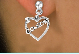 """<bR>               EXCLUSIVELY OURS!!<Br>         AN ALLAN ROBIN DESIGN!!<BR>CLICK HERE TO SEE 120+ EXCITING<BR>   CHANGES THAT YOU CAN MAKE!<BR>              LEAD & NICKEL FREE!!<BR>     W606SE - """"I LOVE COWBOYS""""<Br>     & EARRINGS FROM $4.50 TO $8.35"""