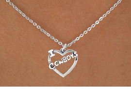 """<bR>               EXCLUSIVELY OURS!!<Br>         AN ALLAN ROBIN DESIGN!!<BR>CLICK HERE TO SEE 120+ EXCITING<BR>   CHANGES THAT YOU CAN MAKE!<BR>              LEAD & NICKEL FREE!!<BR>     W606SN - """"I LOVE COWBOYS""""<BR>     & NECKLACE AS LOW AS $4.50"""