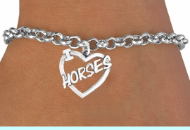 """<bR>               EXCLUSIVELY OURS!!<Br>         AN ALLAN ROBIN DESIGN!!<BR>CLICK HERE TO SEE 120+ EXCITING<BR>   CHANGES THAT YOU CAN MAKE!<BR>              LEAD & NICKEL FREE!!<BR>       W608SB - """"I LOVE HORSES""""<Br>      & BRACELET AS LOW AS $4.50"""