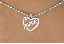 "<bR>               EXCLUSIVELY OURS!!<Br>         AN ALLAN ROBIN DESIGN!!<BR>CLICK HERE TO SEE 120+ EXCITING<BR>   CHANGES THAT YOU CAN MAKE!<BR>              LEAD & NICKEL FREE!!<BR>       W608SN - ""I LOVE HORSES""<BR>     & NECKLACE AS LOW AS $4.50"