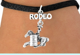 <bR>              EXCLUSIVELY OURS!!<Br>        AN ALLAN ROBIN DESIGN!!<BR>CLICK HERE TO SEE 120+ EXCITING<BR>  CHANGES THAT YOU CAN MAKE!<BR>             LEAD & NICKEL FREE!!<BR> W610SB - RODEO BARREL RACER<Br>     & BRACELET AS LOW AS $4.50