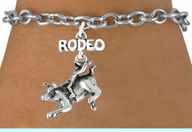 <bR>               EXCLUSIVELY OURS!!<Br>         AN ALLAN ROBIN DESIGN!!<BR>CLICK HERE TO SEE 120+ EXCITING<BR>   CHANGES THAT YOU CAN MAKE!<BR>              LEAD & NICKEL FREE!!<BR>     W611SB - RODEO BULL RIDER<Br>     & BRACELET AS LOW AS $4.50