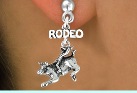 """<bR>               EXCLUSIVELY OURS!!<Br>         AN ALLAN ROBIN DESIGN!!<BR>CLICK HERE TO SEE 120+ EXCITING<BR>   CHANGES THAT YOU CAN MAKE!<BR>              LEAD & NICKEL FREE!!<BR>   W611SE - """"RODEO"""" BULL RIDER<Br>     & EARRINGS FROM $4.50 TO $8.35"""