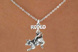 """<bR>               EXCLUSIVELY OURS!!<Br>         AN ALLAN ROBIN DESIGN!!<BR>CLICK HERE TO SEE 120+ EXCITING<BR>   CHANGES THAT YOU CAN MAKE!<BR>              LEAD & NICKEL FREE!!<BR>   W611SN - """"RODEO"""" BULL RIDER<BR>     & NECKLACE AS LOW AS $4.50"""