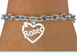 """<bR>               EXCLUSIVELY OURS!!<Br>         AN ALLAN ROBIN DESIGN!!<BR>CLICK HERE TO SEE 120+ EXCITING<BR>   CHANGES THAT YOU CAN MAKE!<BR>              LEAD & NICKEL FREE!!<BR>         W612SB - """"I LOVE RODEO""""<Br>     & BRACELET AS LOW AS $4.50"""