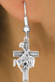 <bR>                EXCLUSIVELY OURS!!<Br>          AN ALLAN ROBIN DESIGN!!<BR>CLICK HERE TO SEE 120+ EXCITING<BR>   CHANGES THAT YOU CAN MAKE!<BR>               LEAD & NICKEL FREE!!<BR>W613SE - BUCKIN BRONCO CROSS<Br>      & EARRINGS FROM $4.50 TO $8.35
