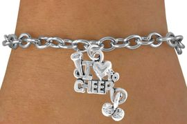 """<bR>               EXCLUSIVELY OURS!!<Br>         AN ALLAN ROBIN DESIGN!!<BR>CLICK HERE TO SEE 120+ EXCITING<BR>  CHANGES THAT YOU CAN MAKE!<BR>             LEAD & NICKEL FREE!!<BR>     W623SB - """"I LOVE TO CHEER""""<Br>     & BRACELET AS LOW AS $4.50"""
