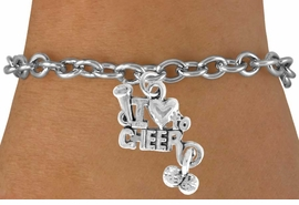 "<bR>               EXCLUSIVELY OURS!!<Br>         AN ALLAN ROBIN DESIGN!!<BR>CLICK HERE TO SEE 120+ EXCITING<BR>  CHANGES THAT YOU CAN MAKE!<BR>             LEAD & NICKEL FREE!!<BR>     W623SB - ""I LOVE TO CHEER""<Br>     & BRACELET AS LOW AS $4.50"