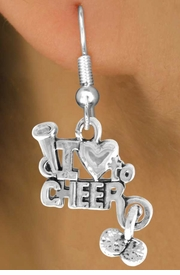 "<bR>               EXCLUSIVELY OURS!!<Br>         AN ALLAN ROBIN DESIGN!!<BR> CLICK HERE TO SEE 120+ EXCITING<BR>    CHANGES THAT YOU CAN MAKE!<BR>              LEAD & NICKEL FREE!!<BR>       W623SE - ""I LOVE TO CHEER""<Br>      & EARRINGS FROM $4.50 TO $8.35"