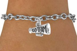 """<bR>                 EXCLUSIVELY OURS!!<Br>           AN ALLAN ROBIN DESIGN!!<BR>  CLICK HERE TO SEE 120+ EXCITING<BR>    CHANGES THAT YOU CAN MAKE!<BR>               LEAD & NICKEL FREE!!<BR>W624SB - """"GO TEAM!"""" MEGAPHONE<Br>       & BRACELET AS LOW AS $4.50"""