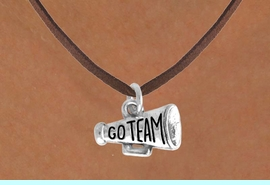 """<bR>                EXCLUSIVELY OURS!!<Br>           AN ALLAN ROBIN DESIGN!!<BR>  CLICK HERE TO SEE 120+ EXCITING<BR>     CHANGES THAT YOU CAN MAKE!<BR>               LEAD & NICKEL FREE!!<BR>W624SN - """"GO TEAM!"""" MEGAPHONE<BR>       & NECKLACE AS LOW AS $4.50"""