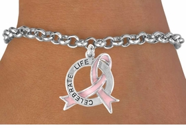 "<Br>               EXCLUSIVELY OURS!!<Br>          AN ALLAN ROBIN DESIGN!!<Br>CLICK HERE TO SEE 120+ EXCITING<BR>   CHANGES THAT YOU CAN MAKE!<BR>              LEAD & NICKEL FREE!!<BR>W634SB - ""CELEBRATE LIFE"" PINK<Br>       AWARENESS RIBBON & DISC<BR>    BRACELET FROM $3.75 TO $8.00"