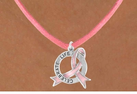 "<Br>               EXCLUSIVELY OURS!!<Br>          AN ALLAN ROBIN DESIGN!!<Br>  CLICK HERE TO SEE 120+ EXCITING<BR>     CHANGES THAT YOU CAN MAKE!<BR>                LEAD & NICKEL FREE!!<BR>   W634SN - ""CELEBRATE LIFE"" PINK<BR>AWARENESS RIBBON DISC NECKLACE<BR>               FROM $4.50 TO $8.35"