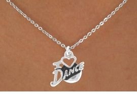 "<bR>              EXCLUSIVELY OURS!!<Br>         AN ALLAN ROBIN DESIGN!!<BR>CLICK HERE TO SEE 120+ EXCITING<BR>  CHANGES THAT YOU CAN MAKE!<BR>             LEAD & NICKEL FREE!!<BR>        W639SN - ""I LOVE DANCE""<BR>     & NECKLACE AS LOW AS $4.50"