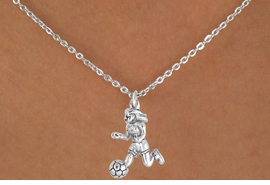 <bR>              EXCLUSIVELY OURS!!<Br>         AN ALLAN ROBIN DESIGN!!<BR>CLICK HERE TO SEE 120+ EXCITING<BR>  CHANGES THAT YOU CAN MAKE!<BR>             LEAD & NICKEL FREE!!<BR>   W646SN - GIRL SOCCER PLAYER<BR>     & NECKLACE AS LOW AS $4.05
