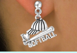 """<bR>                EXCLUSIVELY OURS!!<Br>          AN ALLAN ROBIN DESIGN!!<BR> CLICK HERE TO SEE 120+ EXCITING<BR>    CHANGES THAT YOU CAN MAKE!<BR>               LEAD & NICKEL FREE!!<BR>      W647SE - """"I LOVE SOFTBALL""""<Br>      & EARRINGS FROM $4.50 TO $8.35"""