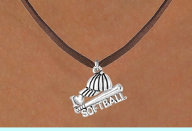 """<bR>              EXCLUSIVELY OURS!!<Br>         AN ALLAN ROBIN DESIGN!!<BR>CLICK HERE TO SEE 120+ EXCITING<BR>  CHANGES THAT YOU CAN MAKE!<BR>             LEAD & NICKEL FREE!!<BR>     W647SN - """"I LOVE SOFTBALL""""<BR>     & NECKLACE AS LOW AS $4.05"""