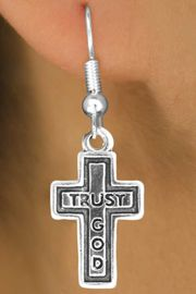 """<bR>                EXCLUSIVELY OURS!!<Br>          AN ALLAN ROBIN DESIGN!!<BR> CLICK HERE TO SEE 120+ EXCITING<BR>    CHANGES THAT YOU CAN MAKE!<BR>               LEAD & NICKEL FREE!!<BR>    W648SE - """"TRUST GOD"""" CROSS<Br>   & EARRINGS FROM $4.50 TO $8.35"""