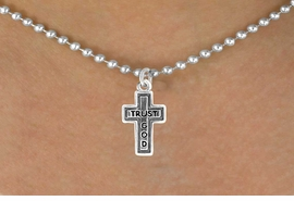 "<bR>               EXCLUSIVELY OURS!!<Br>          AN ALLAN ROBIN DESIGN!!<BR>CLICK HERE TO SEE 120+ EXCITING<BR>   CHANGES THAT YOU CAN MAKE!<BR>              LEAD & NICKEL FREE!!<BR>   W648SN - ""TRUST GOD"" CROSS<BR>  & NECKLACE FROM $4.50 TO $8.35"