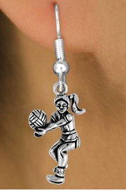 <bR>                EXCLUSIVELY OURS!!<Br>          AN ALLAN ROBIN DESIGN!!<BR> CLICK HERE TO SEE 120+ EXCITING<BR>    CHANGES THAT YOU CAN MAKE!<BR>               LEAD & NICKEL FREE!!<BR>     W649SE - VOLLEYBALL PLAYER<Br>       & EARRINGS FROM $4.50 TO $8.35