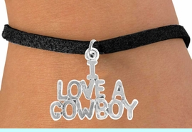 """<bR>               EXCLUSIVELY OURS!!<Br>         AN ALLAN ROBIN DESIGN!!<BR>CLICK HERE TO SEE 120+ EXCITING<BR>   CHANGES THAT YOU CAN MAKE!<BR>              LEAD & NICKEL FREE!!<BR>    W650SB - """"I LOVE A COWBOY""""<Br>   BRACELET FROM $4.50 TO $8.35"""