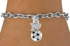 """<bR>               EXCLUSIVELY OURS!!<Br>         AN ALLAN ROBIN DESIGN!!<BR>CLICK HERE TO SEE 120+ EXCITING<BR>   CHANGES THAT YOU CAN MAKE!<BR>              LEAD & NICKEL FREE!!<BR>        W654SB - """"I LOVE SOCCER""""<Br>      & BRACELET FROM $4.50 TO $8.35"""