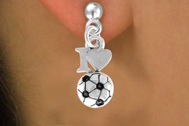 """<bR>                EXCLUSIVELY OURS!!<Br>          AN ALLAN ROBIN DESIGN!!<BR> CLICK HERE TO SEE 120+ EXCITING<BR>    CHANGES THAT YOU CAN MAKE!<BR>               LEAD & NICKEL FREE!!<BR>         W654SE - """"I LOVE SOCCER""""<Br>      & EARRINGS FROM $4.50 TO $8.35"""