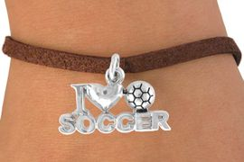 """<bR>               EXCLUSIVELY OURS!!<Br>         AN ALLAN ROBIN DESIGN!!<BR>CLICK HERE TO SEE 120+ EXCITING<BR>   CHANGES THAT YOU CAN MAKE!<BR>              LEAD & NICKEL FREE!!<BR>        W656SB - """"I LOVE SOCCER""""<Br>      & BRACELET AS LOW AS $3.65"""