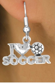 "<bR>                EXCLUSIVELY OURS!!<Br>          AN ALLAN ROBIN DESIGN!!<BR> CLICK HERE TO SEE 120+ EXCITING<BR>    CHANGES THAT YOU CAN MAKE!<BR>               LEAD & NICKEL FREE!!<BR>         W656SE - ""I LOVE SOCCER""<Br>      & EARRINGS FROM $4.50 TO $8.35"