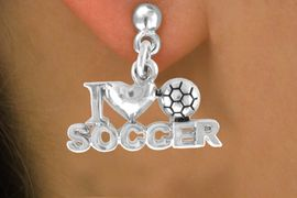 """<bR>                EXCLUSIVELY OURS!!<Br>          AN ALLAN ROBIN DESIGN!!<BR> CLICK HERE TO SEE 120+ EXCITING<BR>    CHANGES THAT YOU CAN MAKE!<BR>               LEAD & NICKEL FREE!!<BR>         W656SE - """"I LOVE SOCCER""""<Br>      & EARRINGS FROM $4.50 TO $8.35"""
