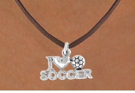 """<bR>              EXCLUSIVELY OURS!!<Br>         AN ALLAN ROBIN DESIGN!!<BR>CLICK HERE TO SEE 120+ EXCITING<BR>   CHANGES THAT YOU CAN MAKE!<BR>             LEAD & NICKEL FREE!!<BR>        W656SN - """"I LOVE SOCCER""""<BR>     & NECKLACE AS LOW AS $4.05"""