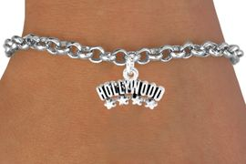 """<bR>               EXCLUSIVELY OURS!!<Br>         AN ALLAN ROBIN DESIGN!!<BR>CLICK HERE TO SEE 120+ EXCITING<BR>   CHANGES THAT YOU CAN MAKE!<BR>              LEAD & NICKEL FREE!!<BR>W659SB -  """"HOLLYWOOD"""" CHARM<Br> & BRACELET FROM $4.50 TO $8.35"""