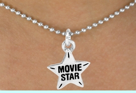 """<bR>               EXCLUSIVELY OURS!!<Br>         AN ALLAN ROBIN DESIGN!!<BR>CLICK HERE TO SEE 120+ EXCITING<BR>  CHANGES THAT YOU CAN MAKE!<BR>              LEAD & NICKEL FREE!!<BR>W660SN -  """"MOVIE STAR"""" CHARM<Br>  NECKLACE FROM $4.50 TO $8.35"""