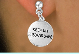"""<bR>                  EXCLUSIVELY OURS!!<Br>           AN ALLAN ROBIN DESIGN!!<BR>   CLICK HERE TO SEE 120+ EXCITING<BR>      CHANGES THAT YOU CAN MAKE!<BR>                 LEAD & NICKEL FREE!!<BR>W663SE -  """"KEEP MY HUSBAND SAFE""""<br>             CHARM & EARRING FROM<bR>                        $4.50 TO $8.35"""