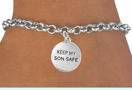 """<bR>               EXCLUSIVELY OURS!!<Br>         AN ALLAN ROBIN DESIGN!!<BR>CLICK HERE TO SEE 120+ EXCITING<BR>   CHANGES THAT YOU CAN MAKE!<BR>              LEAD & NICKEL FREE!!<BR>  W664SB -  """"KEEP MY SON SAFE""""<Br>            DISC & BRACELET FROM<bR>                      $4.50 TO $8.35"""