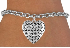 <bR>               EXCLUSIVELY OURS!!<Br>         AN ALLAN ROBIN DESIGN!!<BR>CLICK HERE TO SEE 120+ EXCITING<BR>   CHANGES THAT YOU CAN MAKE!<BR>              LEAD & NICKEL FREE!!<BR>        W665SB -  PUFFED AUTISM<Br> AWARENESS PUZZLE PIECE HEART<bR>          & BRACELET FROM &#169;2010<bR>                       $4.50 TO $8.35