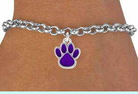 <bR>               EXCLUSIVELY OURS!!<Br>         AN ALLAN ROBIN DESIGN!!<BR>CLICK HERE TO SEE 120+ EXCITING<BR>   CHANGES THAT YOU CAN MAKE!<BR>              LEAD & NICKEL FREE!!<BR> W672SB - SMALL PURPLE PAW CHARM &<Br>    BRACELET FROM $4.50 TO $8.35