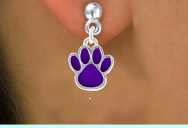 <bR>                 EXCLUSIVELY OURS!!<Br>          AN ALLAN ROBIN DESIGN!!<BR>CLICK HERE TO SEE 120+ EXCITING<BR>   CHANGES THAT YOU CAN MAKE!<BR>              LEAD & NICKEL FREE!!<BR>   W672SE - SMALL PURPLE PAW CHARM<BR> & EARRING FROM $4.50 TO $8.35