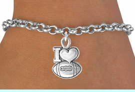 """<bR>               EXCLUSIVELY OURS!!<Br>         AN ALLAN ROBIN DESIGN!!<BR>CLICK HERE TO SEE 120+ EXCITING<BR>   CHANGES THAT YOU CAN MAKE!<BR>              LEAD & NICKEL FREE!!<BR>   W679SB - """"I LOVE FOOTBALL"""" &<Br>   BRACELET FROM $4.50 TO $8.35"""